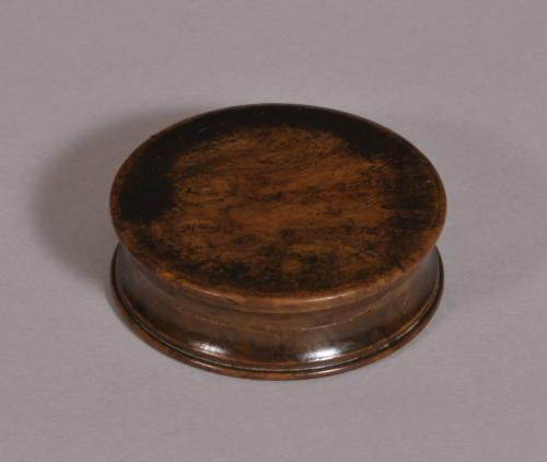 S/3546 Antique Treen 19th Century Burr Elm Pocket Snuff Box