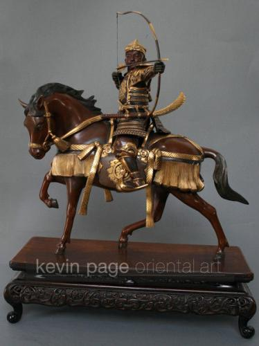 A bronze of an archer on horseback