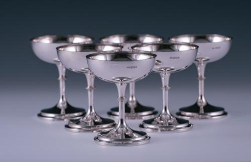 Six Sterling Silver Pedestal Bowls