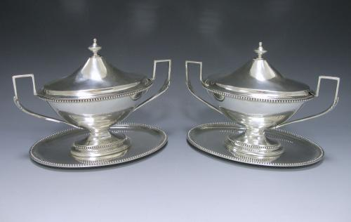 Pair of George III Sauce Tureens on Stands
