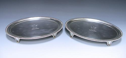 Pair Georgian Sterling Silver Oval Salvers Made 1803