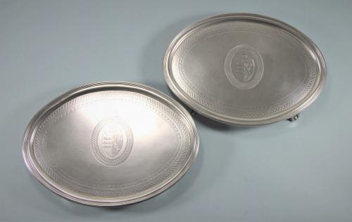 GEORGE III Pair Sterling Silver Oval Waiters by T. Renou. London 1800
