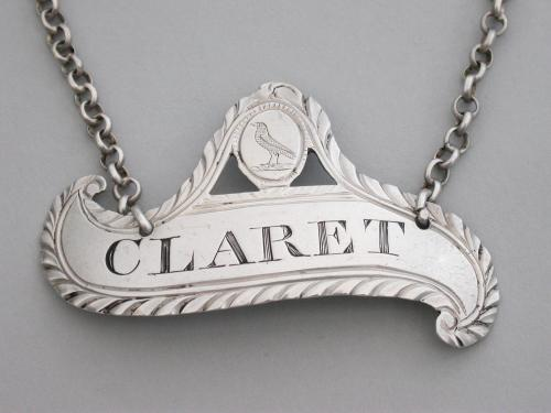 George III Provincial Silver Wine Label 'Claret' Back-To-Front Scroll