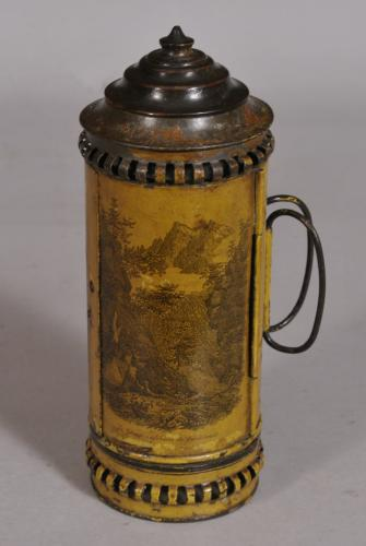 S/3521 Antique 19th Century Tin Toleware Travelling Candle Lantern
