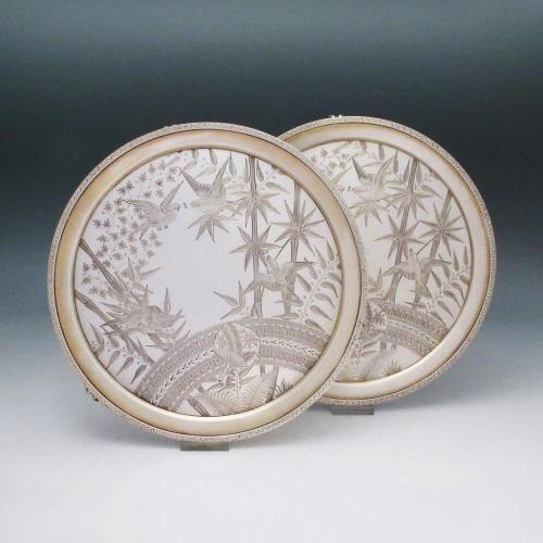 A Pair of Aesthetic Style Antique English Silver Salvers