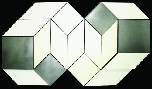 MALCOLM HUGHES (1920-1997) White, Grey & Aluminium Additive-unit Relief