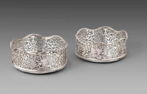 A Pair of George III Antique Silver Wine Coaster made in 1768