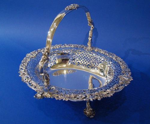 George II Silver Large Hand-Pierced Swing-Handle Basket