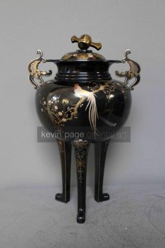 a japanese multimetal vase and cover signed nogawa