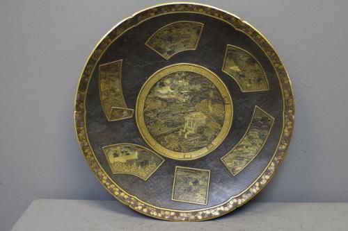 a japanese iron inlaid plate signed andosei