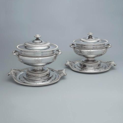 A Massive Pair of Royal Ambassadorial Old Sheffield Plate Soup Tureens