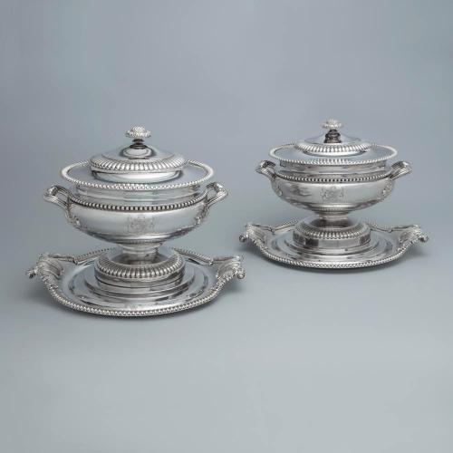 A Massive Pair of Royal Ambassadorial Old Sheffield Plate Soup Tureens