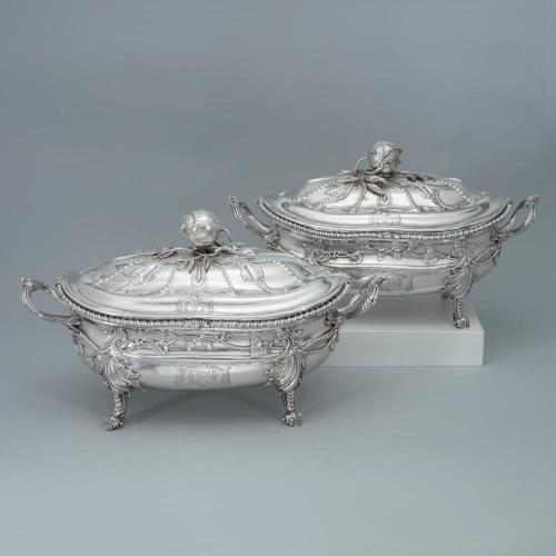 A Pair of George III Antique English Silver Soup Tureens