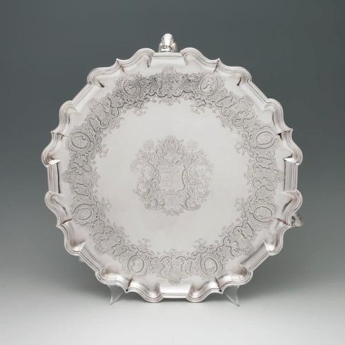 A George II Antique English Silver Salver