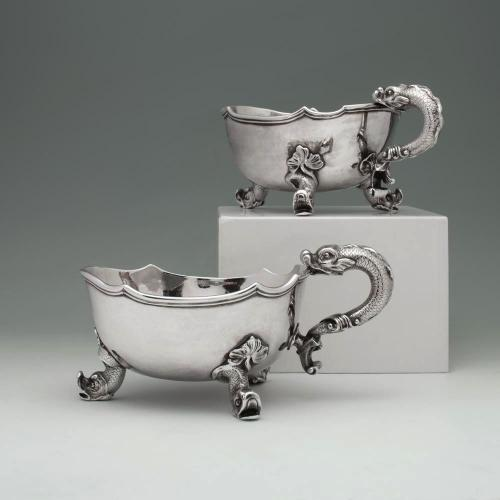 A Pair of George II Antique English Silver Sauceboats