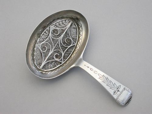 George III Silver Caddy Spoon with filigree insert