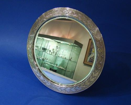 A Large American Sterling Silver Standing Mirror