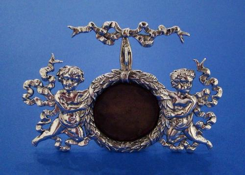 American Silver 'Cherubs' Fob Watch Stand Made by Bigelow, Kennald & Co Boston c.1885