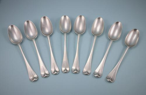 GEORGE I Set of 8 Sterling Silver Dessert Spoons by Andrew Archer. London 1723