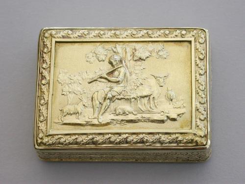George III Large Silver Gilt 'Shepherd Boy' Vinaigrette - Swan Grille