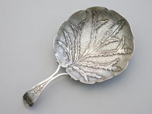 Large George III Silver 'Alder Leaf' Caddy Spoon