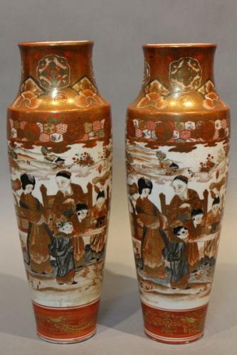 A pair of 19th century japanese kutani vases