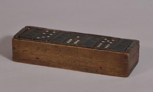 S/3551 Antique Treen 20th Century Set of 28 Queen Mary Dominoes in a Beech Box