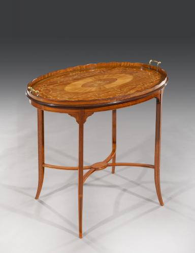 Late 19th Century Sheraton Revival inlaid Satinwood Occasional Table English Circa 1890