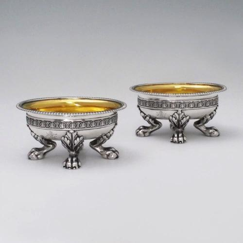 A Pair of George III Antique English Silver Salts