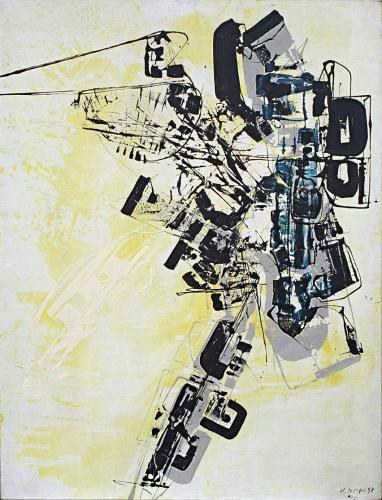 CLAUDE GEORGES (1929-1988) Composition en gris et jaune