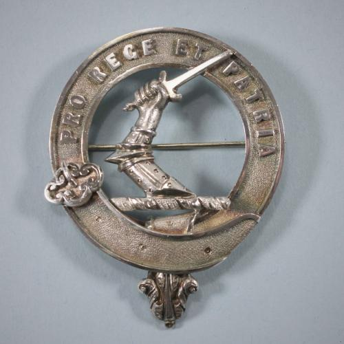 CAMERON Scottish Antique Silver Clan Badge. Circa 1880