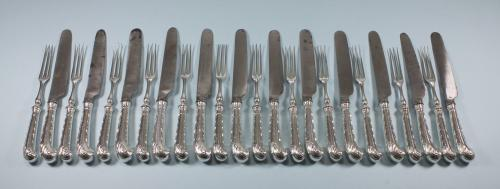 GEORGE II 12 Sterling Silver Pistol Handled Dessert Forks and Knives. Circa 1745