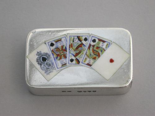 Victorian Silver & Enamel Playing Cards Vesta Case
