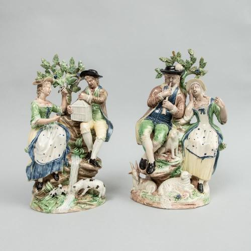 Ralph Wood Staffordshire Pearlware Pair of Large  Figure Groups Liberty & Matrimony & The Flute Player