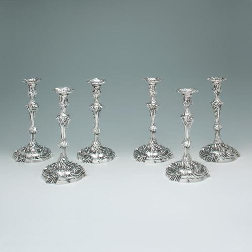 A Set of Six George III Antique English Silver Candlesticks