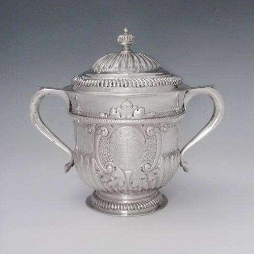 A Queen Anne Antique English Silver Cup & Cover