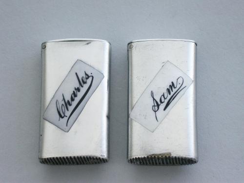 Pair Silver & Enamel Vesta Cases Sam & Charles