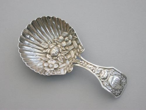 George III Silver 'Basket of Flowers' Caddy Spoon