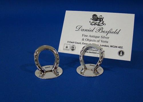 A Pair of Edwardian Silver 'Horseshoe' Menu Holders