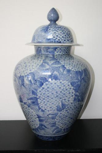 A large blue and white japanese temple jar and cover