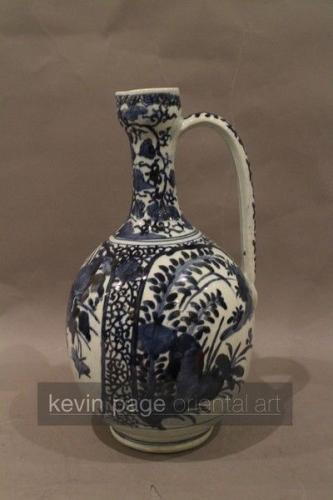 A single blue and white japanese jug