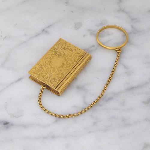 A Fine Georgian Antique English Gold Book Vinaigrette