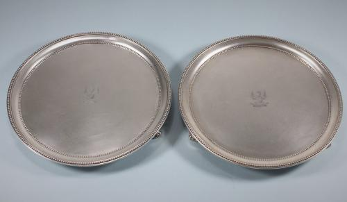 GEORGE III Pair Crested Sterling Silver Salvers by Andrew Folgelberg. London 1779