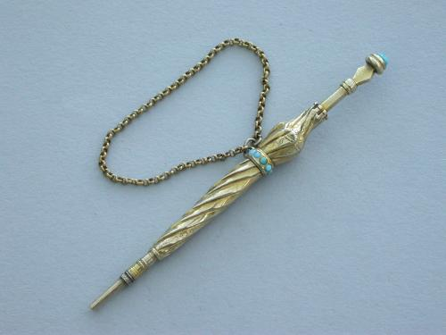 Victorian Novelty Gold & Turquoise Umbrella Propelling Pencil