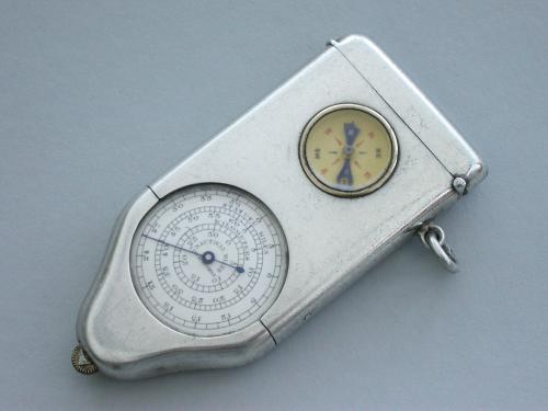 George V Silver Combination Opisometer, Vesta Case & Compass