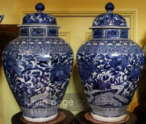 A large pair of japanese blue and white temple jars