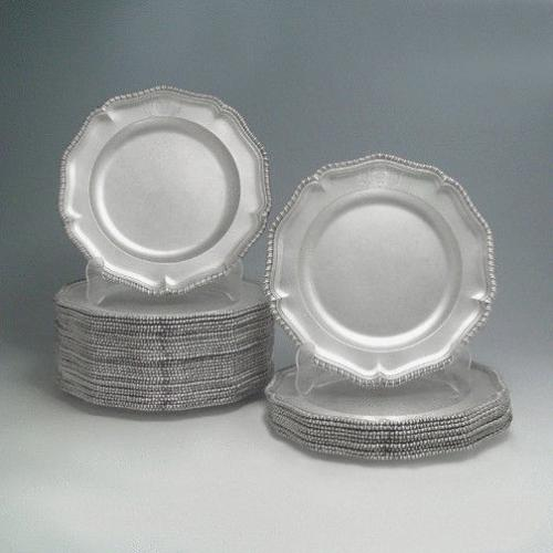 A Set of 38 George II Antique English Silver Dinner Plates