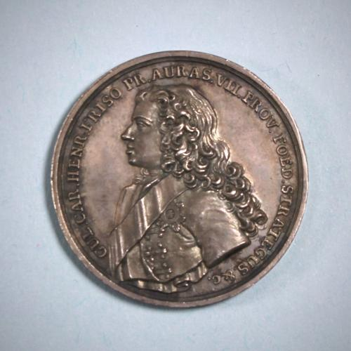 RARE GEORGE II Silver PRINCE of ORANGE & DUKE of CUMBERLAND Medal by T Pingo. London 1747