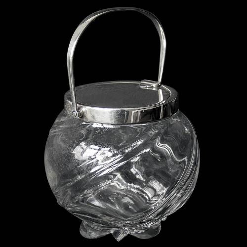 Victorian Antique Silver Mounted Glass Bodied Biscuit Jar