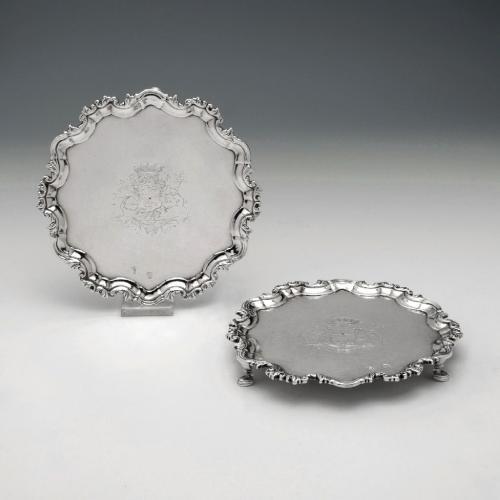 A Fine Pair of George II Antique Irish Silver Salvers